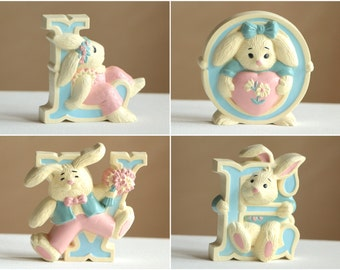 Vintage bunny rabbit letters LOVE / pink and blue nursery baby shower wall decor