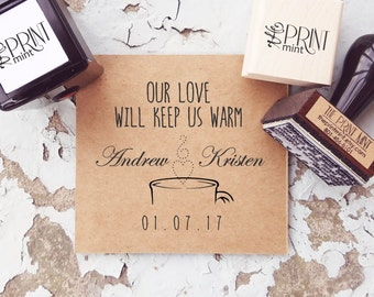 Wedding Stamps, Hot Chocolate Stamps, Wedding Rubber Stamps, Hot Cocoa Wedding Tags, Wedding Self Inking, Winter Wedding Favors CS-10294