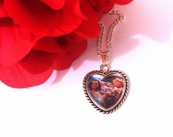 Moana and Maui Heart Pendant Necklace
