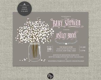 Printable Baby Shower Invitation Card | Flower Bouquet | Baby's Breath | Mason Jar Flower Design | Ball Jar Floral | DIY - No. BTP2-1