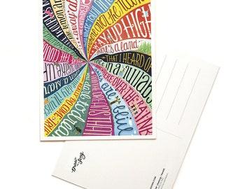Over the Rainbow Postcard, Typography Song Lyrics Art, Wizard of Oz Illustration, Film Art Print, Pop Culture Card, Fan Art Song Postcard