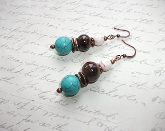 White and turquoise stone copper bohemian earrings