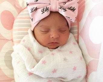 Personalized Baby Headband - Newborn Baby Gift - Personalized Baby Gift - Toddler Headband - Gift for Twins – Pink Bow