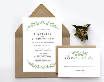 Simple Blue and Green Wedding Invitation Suite - Rustic Wedding Invitation With RSVP - Fall Wedding -Summer Wedding Greens - Spring Wedding
