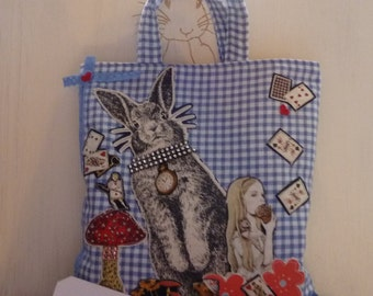 Alice in Wonderland White Rabbit Tote Book Bag Lined Decorated Handmade Shopping Bag