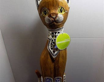 NEW Rare Indonesia Wood Carved Mirror Inlaid Cat Figurine Sculpture Hindu Home Decor Gift