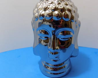 NEW Rare Ceramic Silver Buddha Face Bust Head Sculptures Figurines Asian Oriental Gift