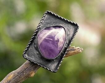amethyst stone ring, adjustable ring, OOAK, metalwork, Tiffany method, handmade
