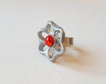 1970s Modernist Pewter and Glass RIng, HW, Sweden (F827)