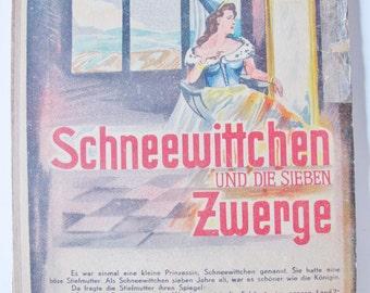 Vintage GERMAN CHILDREN Book, Fairy Tale, Snow White, 7 Dwarfs, Neskusil, lithographic Illustration, Boards