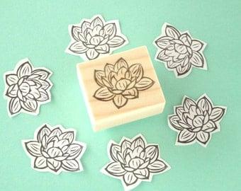 Lotus flower stamp, Wedding invitation, Japanese stationery, Flower invitation, Rubber stamp