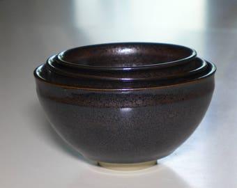Nesting oilspot bowls,set of three tianmu bowls, dirty porcelain