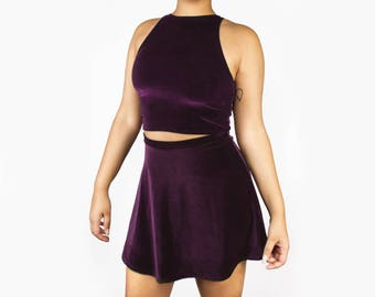 Velvet Crop Tank and Skirt Set (MANY COLORS, Made to Order)