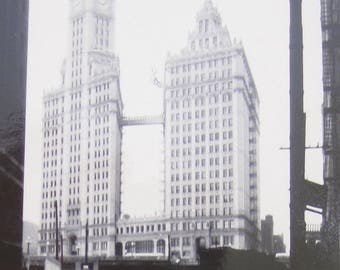 Original 1948 Chicago Skyline Wrigley Building Snapshot Photo - Free Shipping