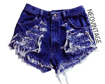 Distressed High Waisted Fringed Denim Festival Hipster Vintage Shorts
