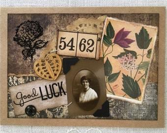 Vintage Collage Card ~ Vintage Photograph & Ephemera ~ Good Luck Card ~ Framable Art ~ Vintage-Inspired Card ~ One-of-A-Kind Card ~ Handmade