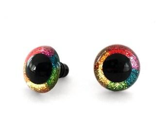 12 mm, 15 mm, 18 mm, or 24 mm Glitter Rainbow Safety Eyes - Craft Eyes for Stuffed Animals, Amigurumi, and Dolls