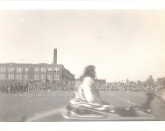 abstract view ~ moving Parade Convertible Car ~ Vintage Snapshot Photo