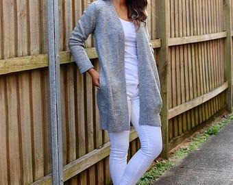 Alpaca Wool Blend Easy Buttonless Cardigan