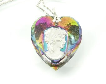 Vintage Intaglio Cameo Necklace, Glass Heart, Faceted, Rainbow, Silver Tone Chain