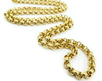 Vintage Monet Chain Necklace, Rolo Chain, Gold Tone, Long, Signed