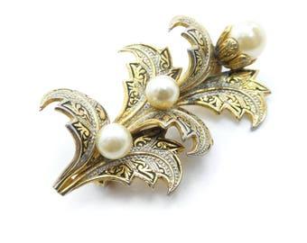 Vintage Spanish Damascene Brooch, Faux Pearls, Gold Tone