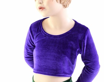 Girls Long Sleeve Mermaid Crop Top TOP ONLY in Purple Stretch Velvet Sizes 2T 3T 4T and 5-12 - 153983