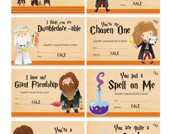 Harry Potter Valentines   Harry Potter Valentine Cards   Cute Harry Potter  Valentines   Kids PERSONALIZED