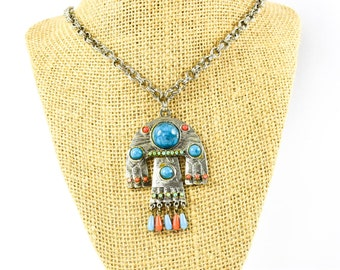 Vintage Mexican Necklace Pendant- Capri Pendant- Vintage Pendant- Statement Necklace- Gift for her- Mom Gift- Fashionista Gift- Rare