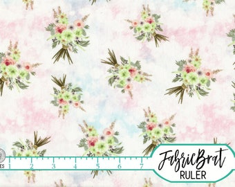 WATERCOLOR FLORAL BOUQUETS Fabric by the Yard, Fat Quarter Blush Pink Boho Chic Quilting Fabric 100% Cotton Fabric Apparel Fabric a3-30