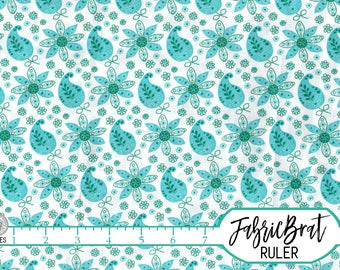 AQUA PAISLEY Fabric by the Yard Fat Quarter Aqua Fabric Teal Fabric Turquoise Fabric 100% Cotton Fabric Quilting Fabric Apparel Fabric w3-15