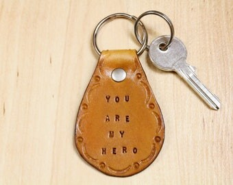 You Are My Hero Keychain, Leather Key Fob, Birthday Gift For Dad, Unique Father Gift Leather Keychain, Anniversary Gift For Husband YHB63