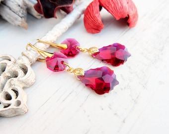 Long ruby Swarovski crystal earrings 24k gold plated jewellery Ruby Swarovski baroque Bridesmaids earrings Ruby gold drop crystal earrings 1