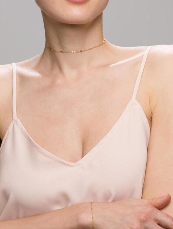 Gold Shinny Lace Choker // Chain lace Choker Necklace