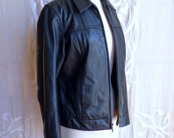 Soft Black Leather Gap Biker Jacket