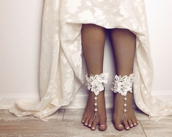 Aloha Barefoot Sandals Foot Jewelry Lace Sandals Lace Anklet Foot Thong Destination Wedding Shoes Beach Wedding Sandals Bridal Lace Anklet