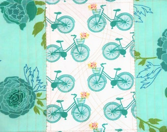 Quilted Snack Mat, Bicycle Quilted Mat, Floral Coaster, Quilted Mug Rug, Place Mat Quilted, Coffee Mat, Sewnsewsister
