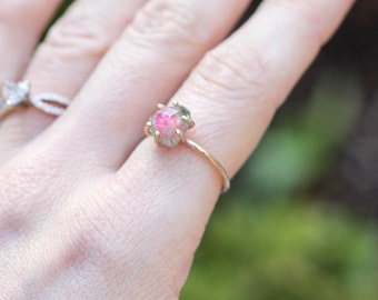 Rose Cut Watermelon Tourmaline Ring