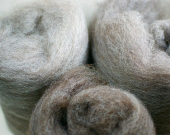 Natural wool carded batt - 50g (1.77 oz) Felting, Spinning Fibre - Jacob + Shetland mix - Browns and White