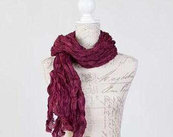 fashion burgundy scarf / silk scarf art / long burgundy scarf / burgundy spring silk scarf  / burgundy wine scarf