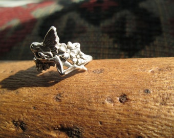 Sterling Silver Fairy with Flowers Ring Size 5