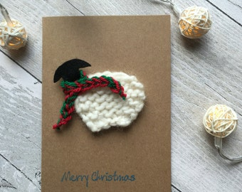 Sheep Christmas Card, Cute Christmas Cards, Christmas Cards Handmade, Unique Christmas Cards, Xmas Cards, Knitted Christmas Cards