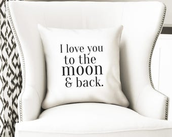I love you to the moon and back throw pillow cover, kids bedroom decor