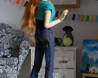 Blue washed jeans for Minifee, Narae,  Slim MSD BJD