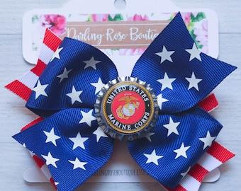 SALE! Marine Corps USMC double layer hair bow or baby headband