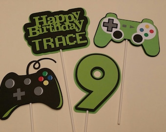 Gamer Birthday Party - Birthday Party Centerpiece Sticks - Video Game Party Centerpiece Sticks - Party Decoration Sticks Set of 4