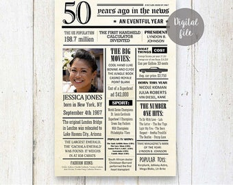 Personalize 50th birthday for her - 50th Birthday Gift for women wife sister mother in law mom mommy - Fun facts  1967 - DIGITAL FILE!