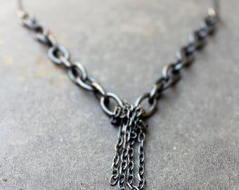 Black Silver Necklace,Finge Necklace, Sterling SilverNecklace, Oxidized Sterling Silver, Black Jewelry, Oxidized Silver Necklace, Rustic