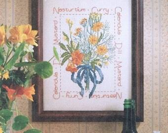 CROSS STITCH PATTERN - Yellow & Orange Flower Bouquet Cross Stitch Sampler - Herbs Cross Stitch - Vintage Cross Stitch