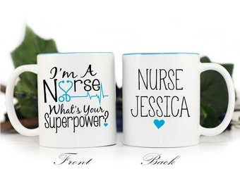Nurse Coffee Mug,Personalized Nurse Mug,Im a nurse whats your superpower,nurse graduation gift,Nurse Gift,Blue Fox Gifts,MUG-302